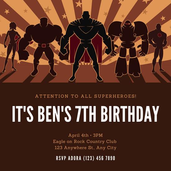Brown Illustrated Superhero Invitation