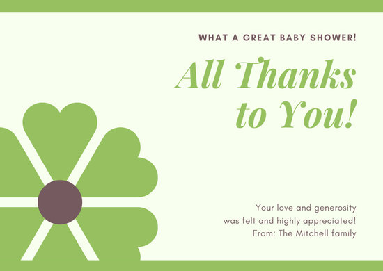 Green and Yellow Baby Shower Thank You Card