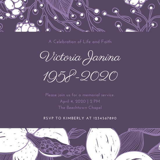 Lavender Floral Patterned Memorial Invitation