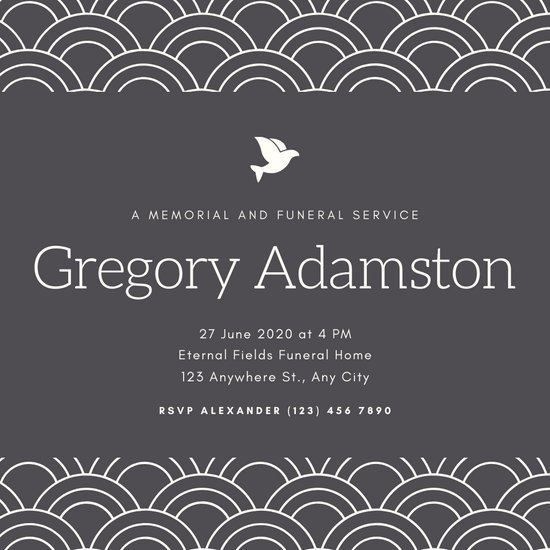 Gray Modern Pattern Bordered Funeral Invitation