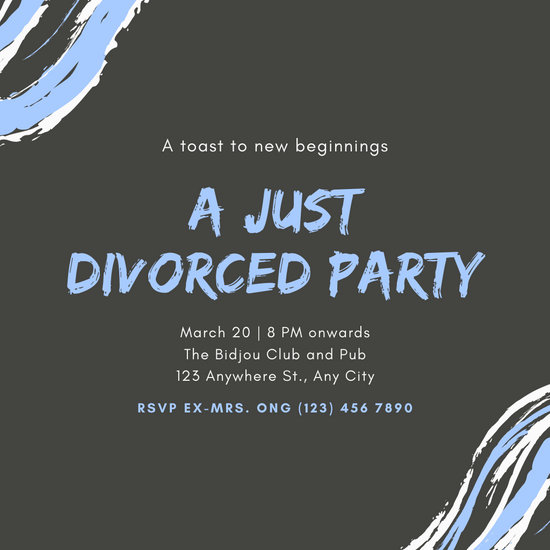 Blue and Charcoal Divorce Party Invitation