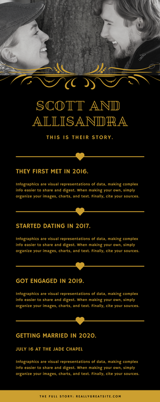 Black Gold Photo Love Story Timeline Infographic