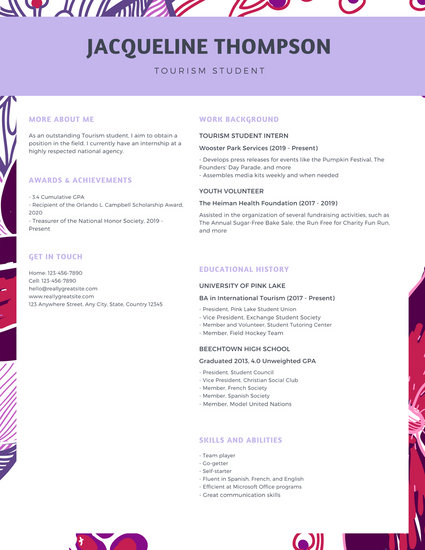 Lavender Floral College Resume