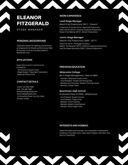 Black and White Modern Zigzag Line Theatre Resume