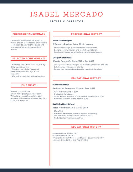 Cream and Red Modern Theatre Resume