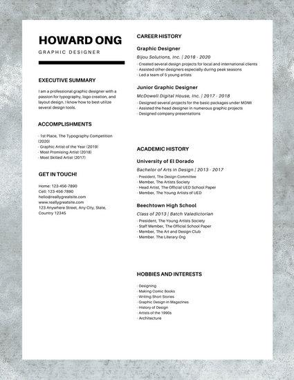 White Minimal Clean Photo Graphic Designer Resume