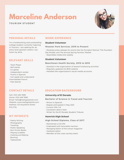 Peach and Orange Simple College Resume