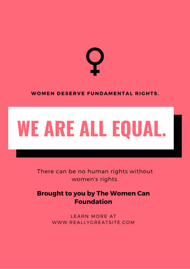 Pink & White Simple Women's Rights Poster