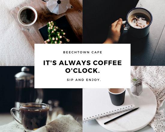 White & Black Modern Coffee Quote Photo Collage
