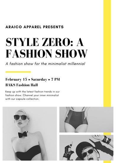 Yellow Photo Elegant Fashion Show Flyer