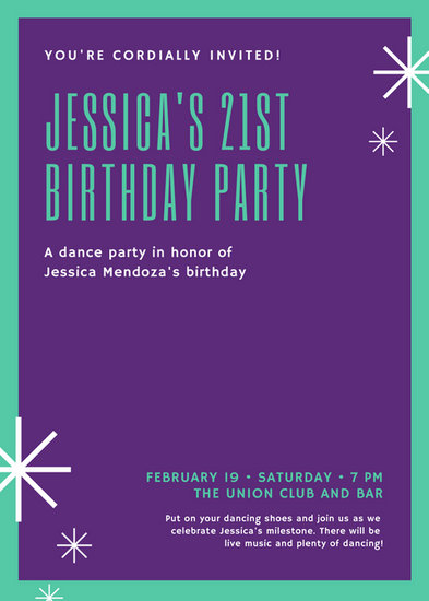 Purple Minimalist Party Flyer