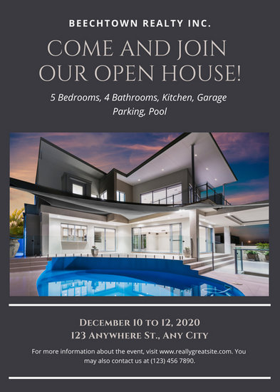 Gray Elegant Open House Flyer