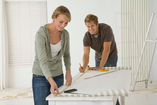 Couple working on DIY project