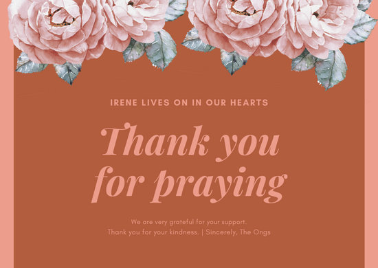 Pink Floral Funeral Thank You Card