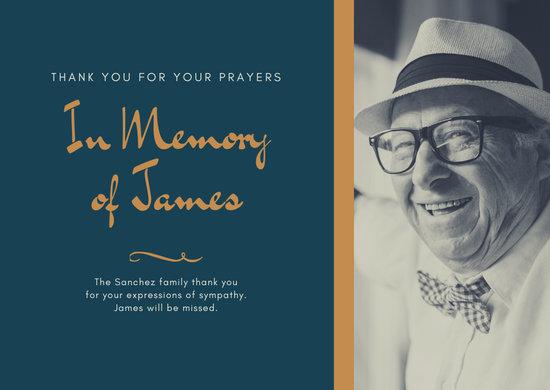 Blue Funeral Memorial Elegant Photo Thank You Card