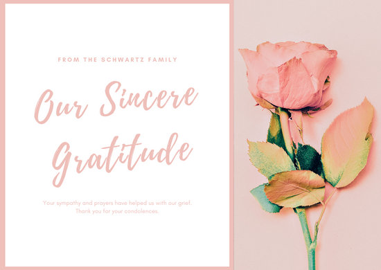 Light Pink Rose Funeral Thank You Card