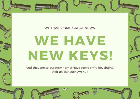 Green Keys Change of Address  Card