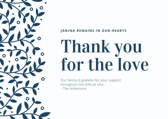 Cream with Navy Blue Foliage Funeral Thank You Card