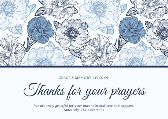 Cream with Blue Floral Pattern Funeral Thank You Card