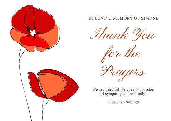 Maroon Elegant Minimal Simple Flower Illustration Funeral Thank You Card