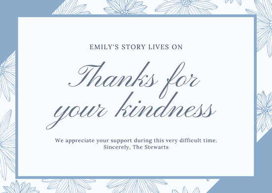 Greyish Blue Flowers Funeral Thank You Card