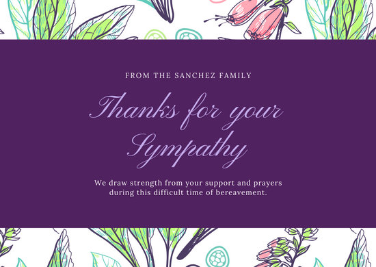 Violet Seamless Organic Pattern Funeral Thank You Card