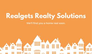 Orange and White Illustration Real Estate Business Card
