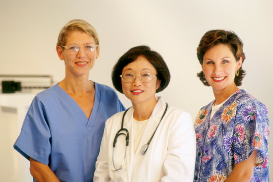Staff portrait of a female doctor and nurse team