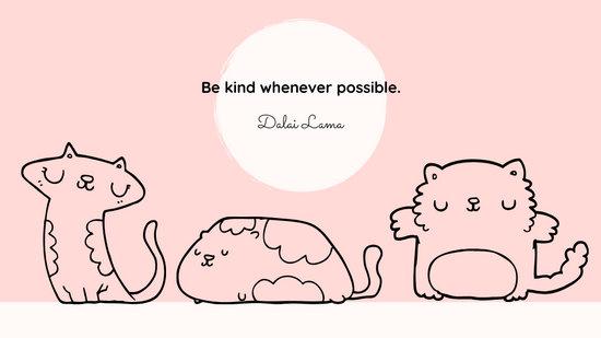 Pink Kitten Cat Illustrations Cute Desktop Wallpaper