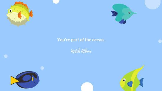 Blue Fish Bubbles Cute Desktop Wallpaper