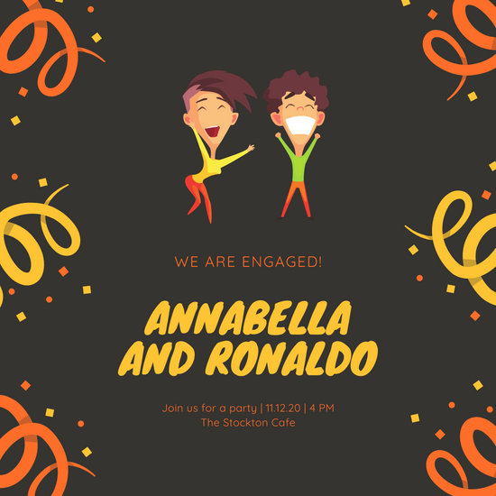 Illustrated Engagement Announcement Social Media Graphic