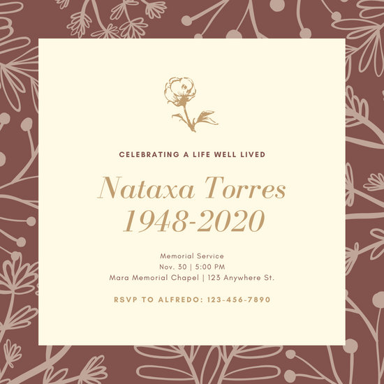 Illustrated Floral Background Funeral Invitation