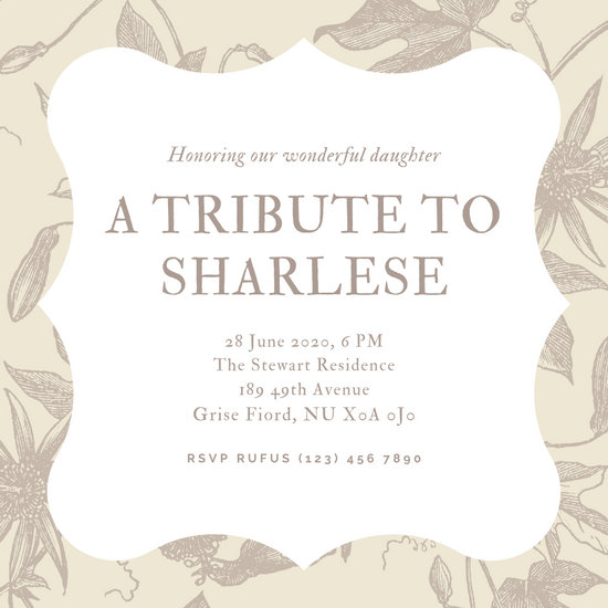 Brown Flowers Bordered Memorial Invitation