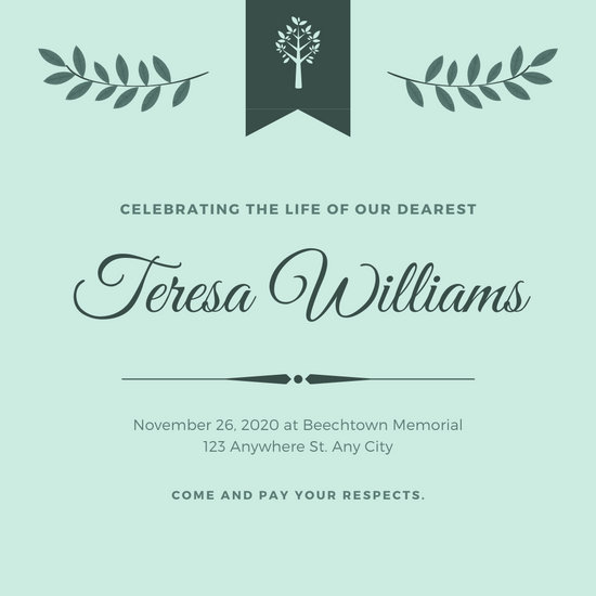 Light Blue Bordered Funeral Invitation