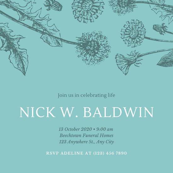 Blue with Dandelion Sketch Funeral Invitation