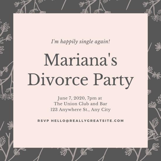 Pink Gray Divorce Party Invitation