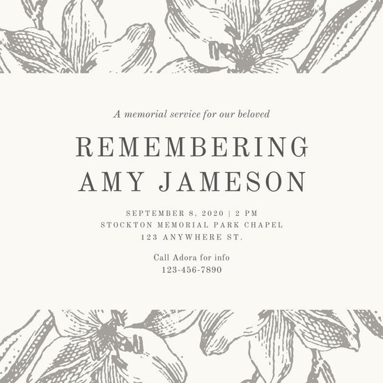 Grey Sketch Floral Funeral Invitation