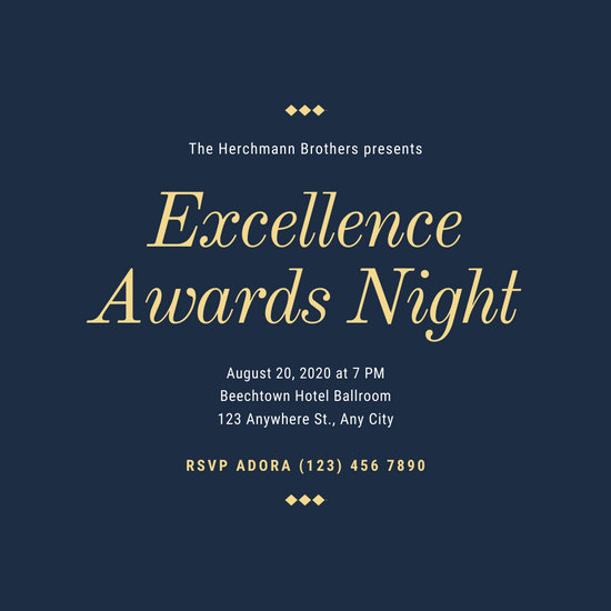 Dark Blue and Golden Bordered Fancy Awards Night Invitation