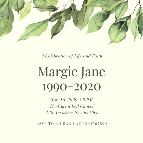 Green Leaves Illustration Quote Funeral Invitation