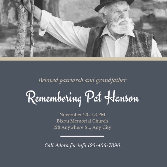 Blue Gold Old Man Funeral Invitation