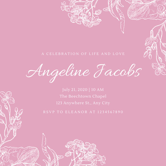 Pink Floral Sketch Funeral Invitation