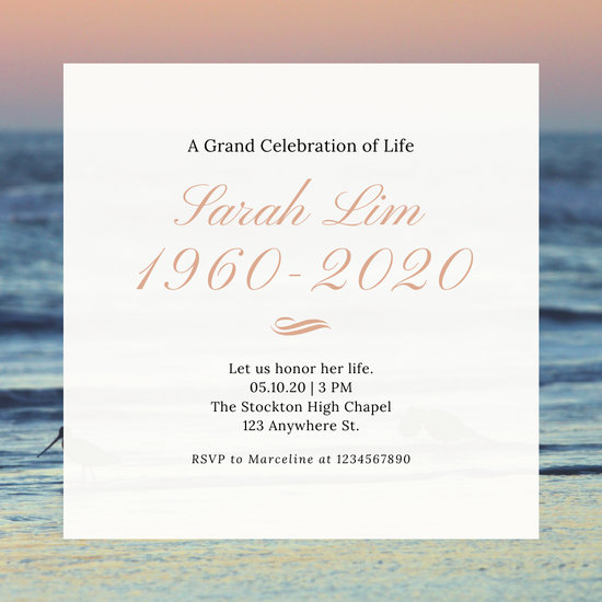 Coral Navy Blue Sunset Elegant Script Serif Funeral Invitation