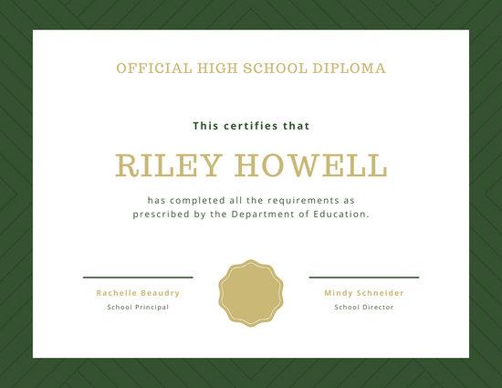 Dark Green Pattern High School Diploma Certificate