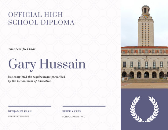 Violet Patterned High School Diploma Certificate