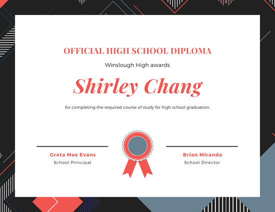 Modern Abstract Pattern High School Diploma Certificate