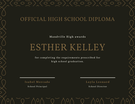 Brown Elegant Pattern High School Diploma Certificate