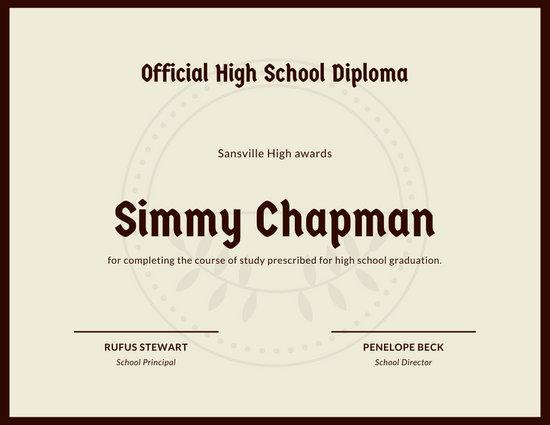 Burgundy and Cream High School Diploma Certificate
