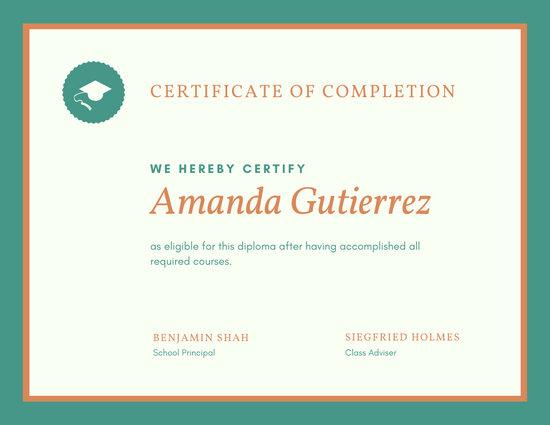 Teal Orange Simple High School Diploma Certificate