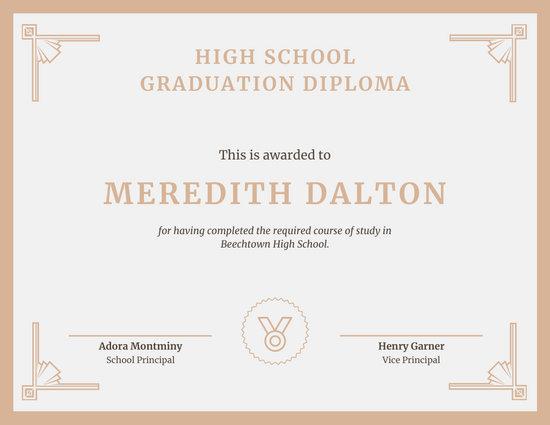 Beige Border High School Diploma Certificate