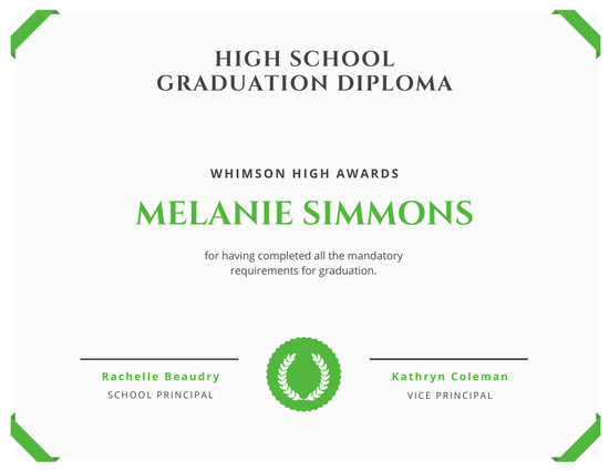 White with Green Border High School Diploma Certificate